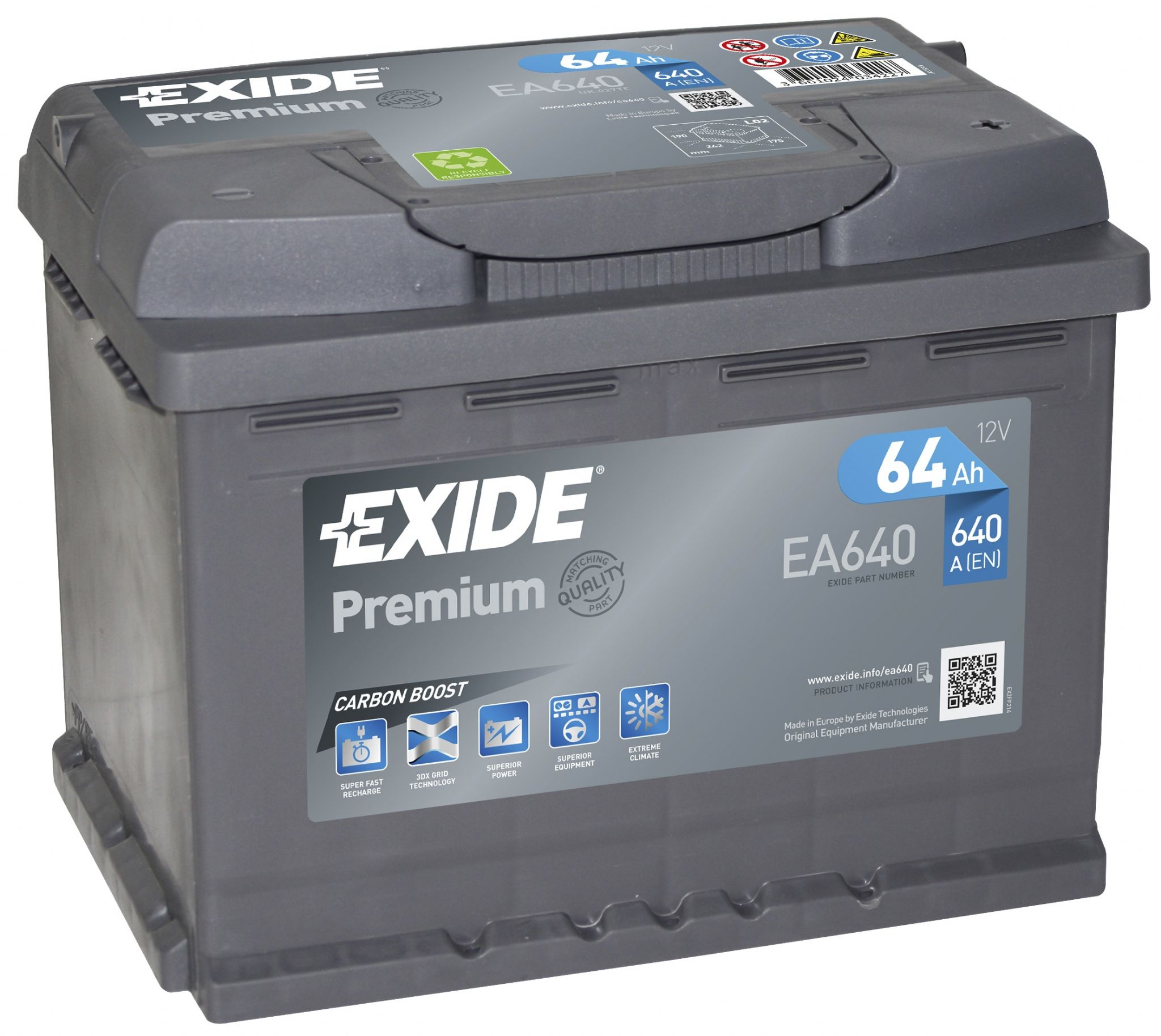 Exide 027TE Premium Car Battery EA640