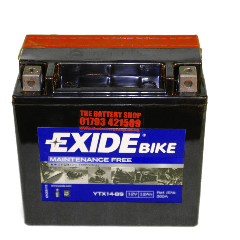 exide etx14 bs motorcycle battery 12v 12ah 200a ytx14 bs. Black Bedroom Furniture Sets. Home Design Ideas