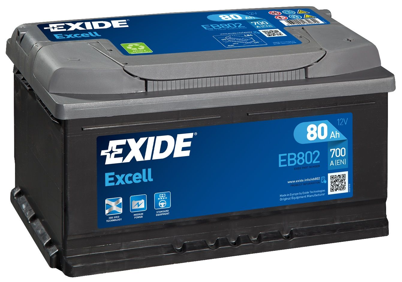 Exide Excell 110SE Car Battery EB802
