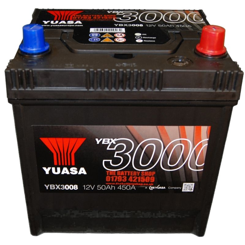 yuasa 12v 50ah 400a car battery ybx3008 50d20l. Black Bedroom Furniture Sets. Home Design Ideas