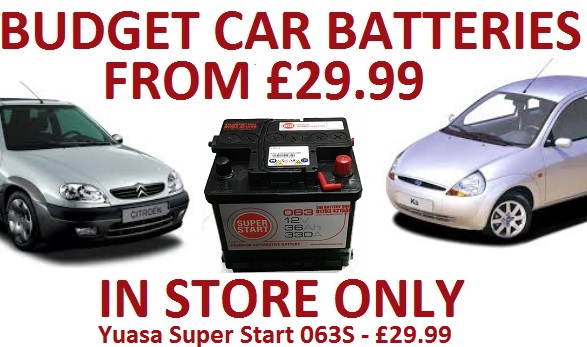 Cheap Car Batteries from £29.99, 063S