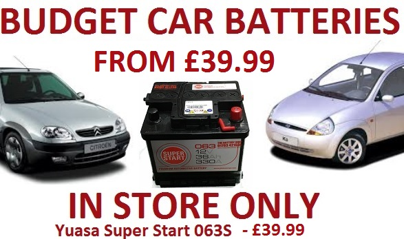 Budget Car batteries from £29.99